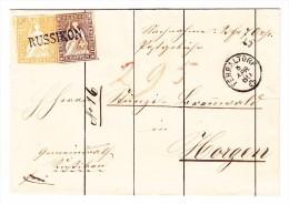 Heimat ZH RUSSIKON Stabstempel Auf 5 Und 20Rp Strubel  Brief Fehraltorf 8.4.1860 Nach Horgen - Lettres & Documents