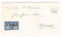 Heimat ZH SCHLIEREN Langstempel Auf Waagrechtes Paar 10Rp. Strubel Brief Hülle (19.11.1861) Nach Rifferswil - Lettres & Documents