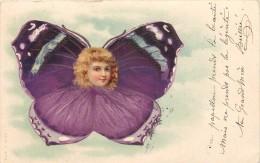 PORTRAIT D'ENFANT DANS UN PAPILLON - Carte 1900. - Papillons