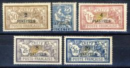 Creta 1903 Tipi Francia Dedicati, Valori In Piastre Sovrastampati. Serie N. 16 - 20 MH Catalogo € 630 - Unused Stamps