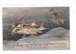8614 - CPA 1er AVRIL Gauffrée, Poisson - April Fool's Day