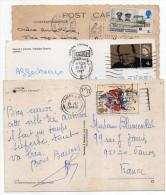 Grande-Bretagne---lot De 3 Cartes Postales Grande-Bretagne Pour La France Avec Timbres Seuls Sur Documents - Postmark Collection