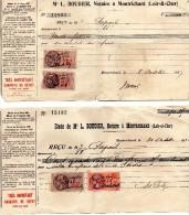 MONTRICHARD  (41)   Lot De 6 Reçus  -  Maitre  L.  BOUDIER,   Notaire à MONTRICHARD. - Vieux Papiers