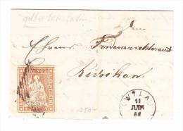 Heimat ZH WILA 11.6.1856 Mit 5Rp. Strubel Auf Brief Nach Russikon - Lettres & Documents