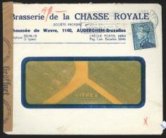 Envel Entête BRASSERIE De La Chasse Royale Aff N°430 De Bruxelles /1943 + Censure - 1936-51 Poortman
