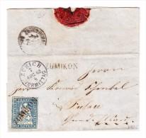 Heimat ZH ZUMIKON Balkenstempel 10Rp Strubel Auf Brief  7.8.1862 - 1854-1862 Helvetia (Non-dentelés)