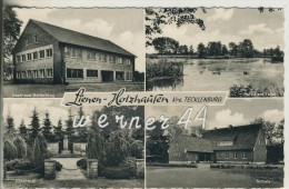 Lienen-Holzhausen V. 1963 Gasthaus Reiterkrug,Partie Am Teich,Ehrenmal,Schule  (23324-26) - Lengerich