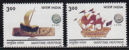 India MNH 1999, Set Of 2, Maritime Heritage, History, Terractta Model Boat L 2200 B.C. Ship, Lead Coin, Mineral, Flag - India