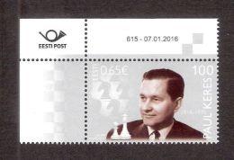 Chess, Schach, Echecs, Ajedrez Grandmaster Paul Keres 100  2016 Estonia MNH Corner Stamp With Issue Number - Ajedrez