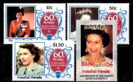 PB157 - FUNAFUTI TUVALU , 60th Birthday QEII , La Serie  ***  MNH - Tuvalu