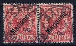Marianen  Mi Nr 3 I Used 1899-1900  Paar Pair Friedemann  Stempel Nr  1 III Schmutzfleck über P - Colony: Mariana Islands