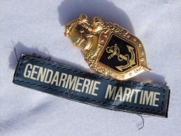 ANCIEN INSIGNE GENDARMERIE MARITIME + PATCH VELCRO - Police & Gendarmerie