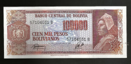 BOLIVIA - El BANCO CENTRAL De BOLIVIA - 100000 PESOS BOLIVIANOS (1984) - Bolivia