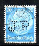 Y1116 - TERZO REICH 1933 , Unificato  N. 492 Usato . Fil Croce Uncinata . PERFIN - Germania