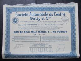 Magnifique Action Décorée. Automobile Du Centre Gatty Et Cie. Bon De 2000 Francs 5% Au Porteur - Automobile