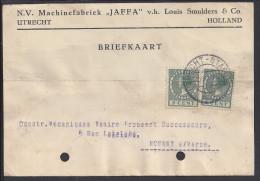 "PAYS-BAS - 1927 - "" MACHINEFABRIEK JAFFA "" CARTE COMMERCIALE  DE UTRECHT A DESTINATION DE NOGENT S/ MARNE - FR - - Storia Postale"