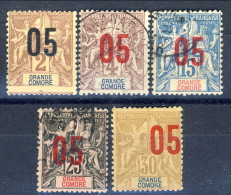 Grand Comore 1912 Tipi Del 1897-1900 Sovrastampati Piccolo Lotto Di 5 Misti MH E Usati Catalogo € 7,70