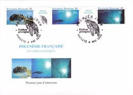 POLYNESIE FRANCAISE 1995 @ Enveloppe 17,7 X 12 Cm Premier Jour FDC Tortue Espèce Protégée Corail Papeete - FDC