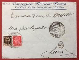 AMBULANTE  FIRENZE EMPOLI LIVORNO SU BUSTA PUBBLICITARIA TAPPEZZIERE ANDREINI ROMEO CASCINA IN DATA 23/5/32 - 1900-44 Vittorio Emanuele III