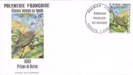 POLYNESIE FRANCAISE 1995 @ Enveloppe Premier Jour FDC Oiseau Unique Au Monde Koko Ptilope De Hutton - Tahiti Papeete - FDC