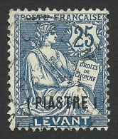 France, Offices In Turkey, 1 Pi. On 25 C. 1903, Scott # 34, Used. - Levant (1885-1946)