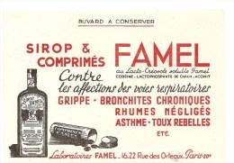 Buvard FAMEL Sirop & Comprimés FAMEL Contre Les Affections Des Voies Respiratoires 16-22 Rue Des Orleaux Paris XX - Produits Pharmaceutiques