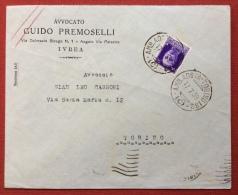 AMBULANTE  AMB.AOSTA - TORINO 162 (C) SU BUSTA  PER TORINO DELL' AVVOCATO GUIDO PREMOSELLI DI IVREA - 17/7/39 - 1900-44 Vittorio Emanuele III