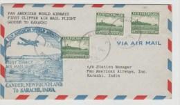 C-St016a/ Erstflug Gander-Karachi 1947, 3 X 20 Cents Leuchtturm