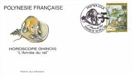 POLYNESIE FRANCAISE 1996 @ Enveloppe Premier Jour FDC Année Du RAT Horoscope Chinois - Tahiti Papeete - FDC