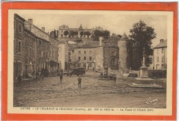 Lozère : Chambon Le Chateau, La Place Et L'Ecole Libre, Animée - France