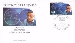 POLYNESIE FRANCAISE 1996 @ Enveloppe Premier Jour FDC Paul Emile Victor 1907 1995 - Tahiti Papeete - FDC