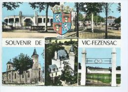 Gers.Vic Fezensac Carte Multivues Avec Les Arènes Et Le Stade De Football - Vic-Fezensac