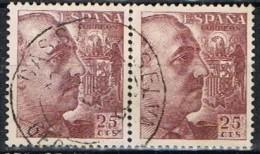 Par Sellos 25 Cts Caudillo, Fechador CASSA De La SELVA (Gerona), Num  923 º - 1931-Today: 2nd Rep - ... Juan Carlos I