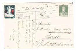 Argentinien 10c. Und Vignette 5c. 1932 AK Nach Basel Motiv Hafen Süd Von Buenos-Aires - Buenos Aires (1858-1864)
