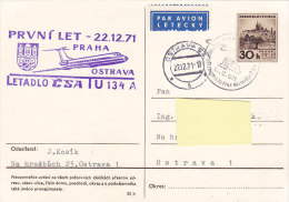 TU 134A - CSA Praha-Ostrava 1971 - Airmail