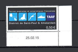 TAAF  Nvtés 2015   VF0.50 € -  District De Saint-Paul Et Amsterdan Coin De Feuille Avec Date - Terres Australes Et Antarctiques Françaises (TAAF)