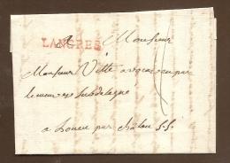 Pas Connaisseur - Belle Lettre 1785 -- Cursive Linéaire - LANGRES En Rouge - Marcophilie (Lettres)