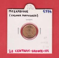 MOZAMBIQUE   20  CENTAVOS  1.974  BRONCE  KM#88  SC/UNC    DL-8378 - Mozambique