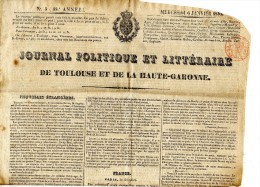 Toulouse, La Gazette Politique Et Littéraire De La Hte Garonne, Démographie, Franc-maçonnerie  à Toulouse.Timbre Fiscal - Giornali