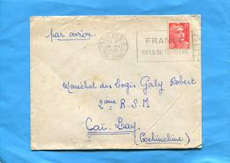 MARCOPHILIE- Guerre INDOCHINE-Lettre De Françe Cad Paris TRI N°1-1949-pour 2° RSM -Caï Lay - Marcophilie (Lettres)