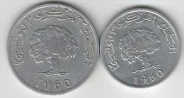 §§§ TRES BON ETAT  §§§ Pieces De Monnaies Tunisie 1960  TTB  VOIR SCAN ! ! ! - Tunisia