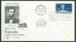 1959 USA FDC LINCOLN NO TIMBRO ARRIVO - V - 1951-1960