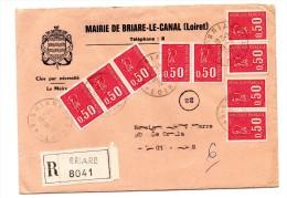 Lettre Recommandée Marianne De Bequet Briare Le Canal - Frankrijk