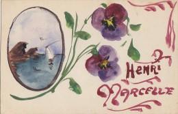 Fantaisies -  Carte Peinte - Prénom Henri Marcelle - Poilu Peintre - Versailles 1917 - Fantaisies