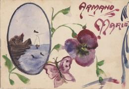 Fantaisies -  Carte Peinte - Prénom Armand Marie - Papillon - Peintre Poilu Versailles 1917 - Fantaisies
