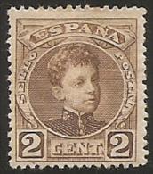 1901-1905-ED. 241 ALFONSO XIII TIPO CADETE 2 CTS CASTAÑO-NUEVO CON FIJASELLOS - 1889-1931 Reino: Alfonso XIII