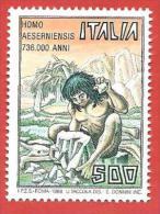 ITALIA REPUBBLICA MNH - 1988 - Homo Aeserniensis - £ 500 - S. 1822 - 6. 1946-.. Repubblica