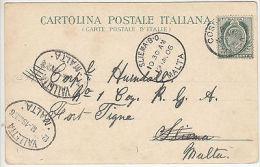 Malta: Postcard Of Naples; Valletta To Fort Tigne, EdVII ½d Stamp, 19 March 1906 - Malta (...-1964)