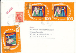 Uruguay Cover Sent Air Mail To Denmark 26-12-1974 - Uruguay