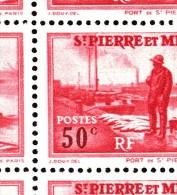 St Pierre Et Miquelon MNH Scott #184 Partial Sheet Of 25 50c Port St. Pierre Variety: Mis-shaped ´S´ Position 2/5 - Blocs-feuillets